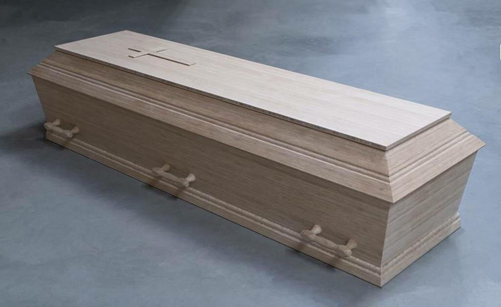 Bambus kiste med 6 håndtag med kors
